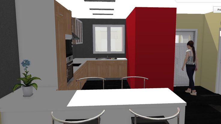 Opción 4 - Vista de zona de cocina y vestíbulo de entrada, el aseo se trata como una pieza de separación de ambas zonas.