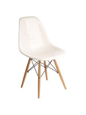 Eames style DSW, Design Eetkamerstoel zonder armleuning Essenhouten basis. Plastic top.