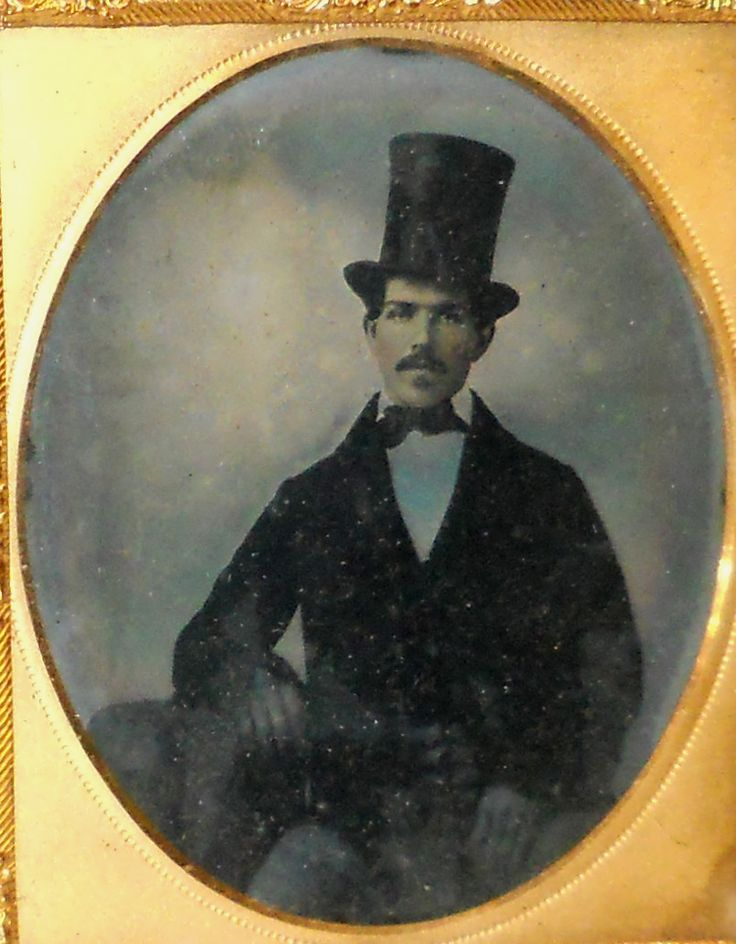 Antique 1850`s 1 6 Plate Ambrotype Photo of Man in Stove Pipe Hat | eBay