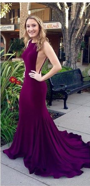 Dark Plum Long Mermaid Prom Dresses Real Sexy Open Back Evening