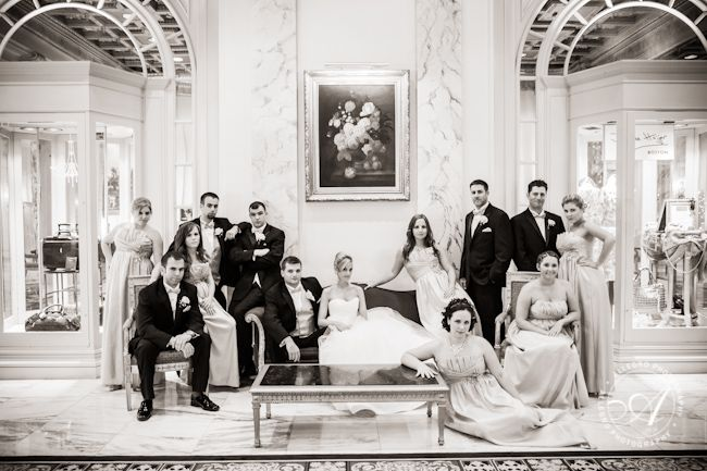 Vanity Fair-style shot of the wedding party. The Fairmont Copley Plaza lobby makes for a gorgeous backdrop