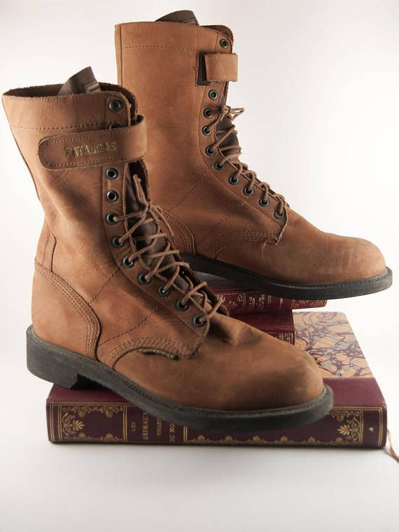 Vintage Brown Leather Boots For Mens Pataugas Retro Combat Shoes In Suede Military Style Uk Size 9 Us Size 9 5 Vi Boots Combat Shoes Vintage Clothing Men