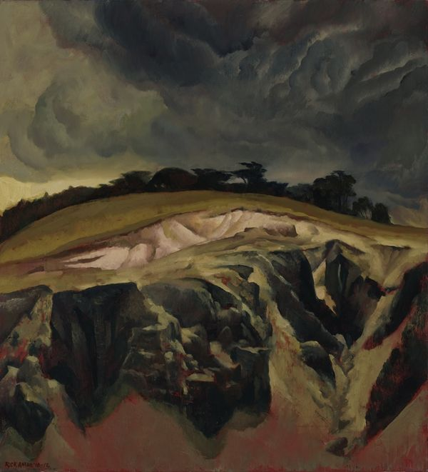 'Study for Storm over a quarry' (2010) by Australian artist Rick Amor (b.1948). Oil on canvas, 51 x 73.5 cm. via Liverpool Street Gallery