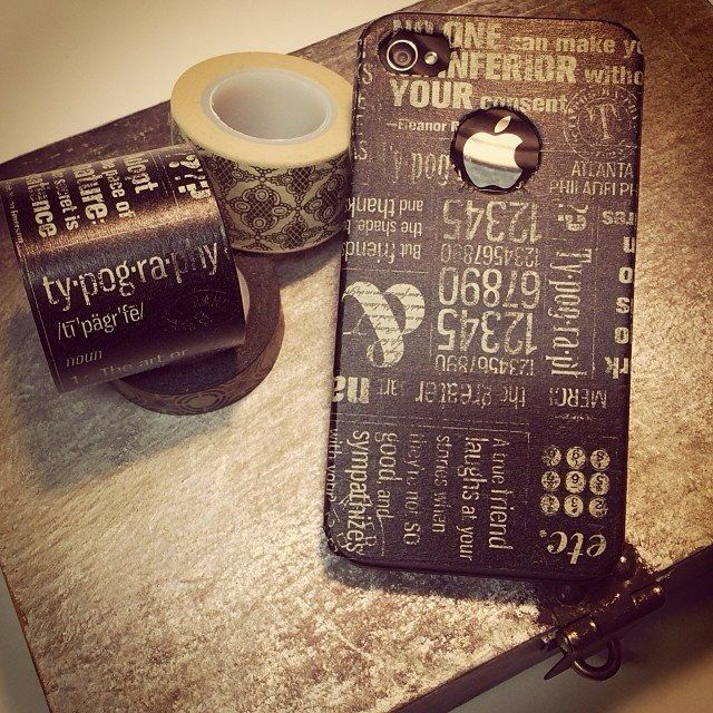 DIY Typography phone case. Graphic 45 washi tape. Denise Johnson.