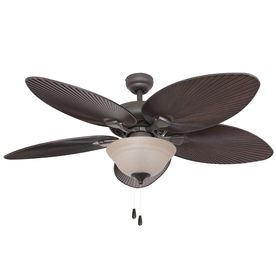 Palm Coast St Thomas 52 In Bronze Downrod Or Flush Mount Ceiling Fan With Light