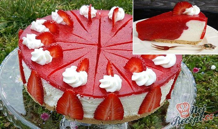 Původně byl tenhle dort s kiwi, ale já jsem použila jahody a byl fantastický…