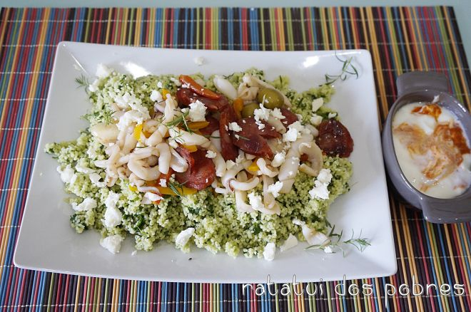 Chouriço & lulas c/ salada de couscous grega | ratatui dos pobres