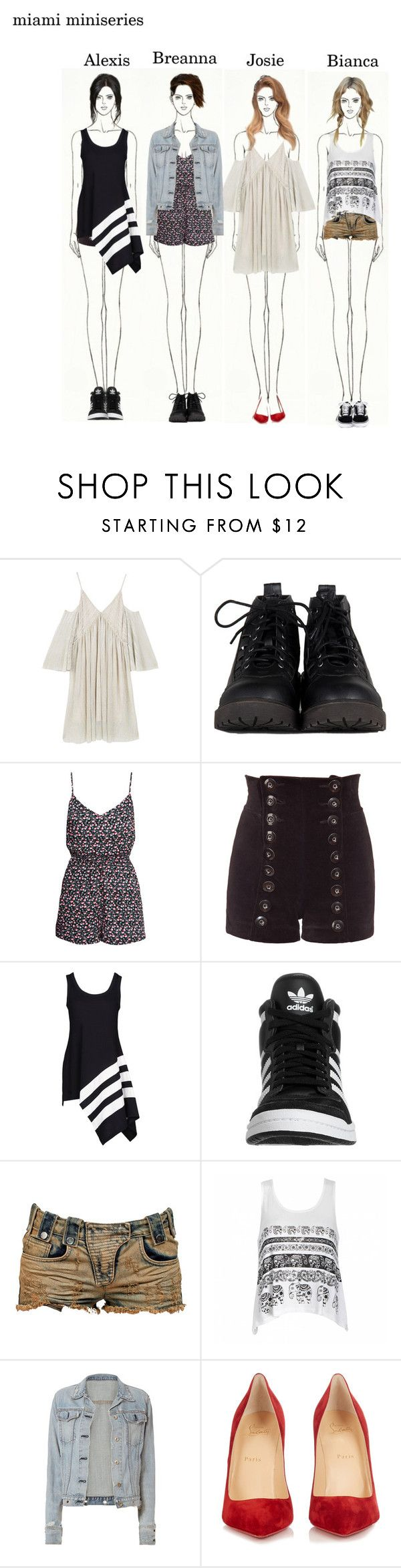 """Girls in Miami: Josie Is Da Worst"" by heymishiehere ❤ liked on Polyvore featuring MANGO, H&M, Tamara Barnoff, Y-3, adidas Originals, Pierre Balmain, Ally Fashion, rag & bone, Christian Louboutin and breannahollybrenton"