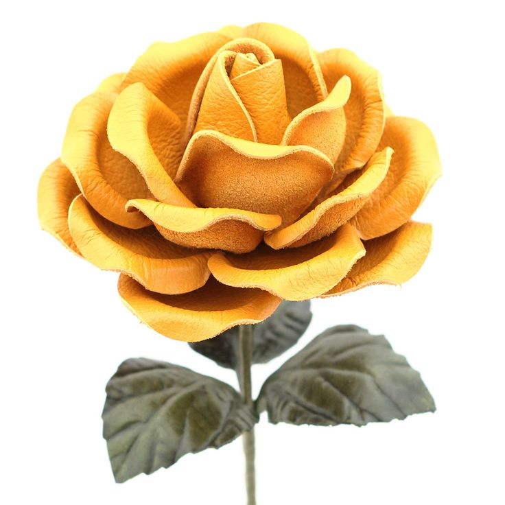 Leather Rose Long Stem Flower - Gold Yellow