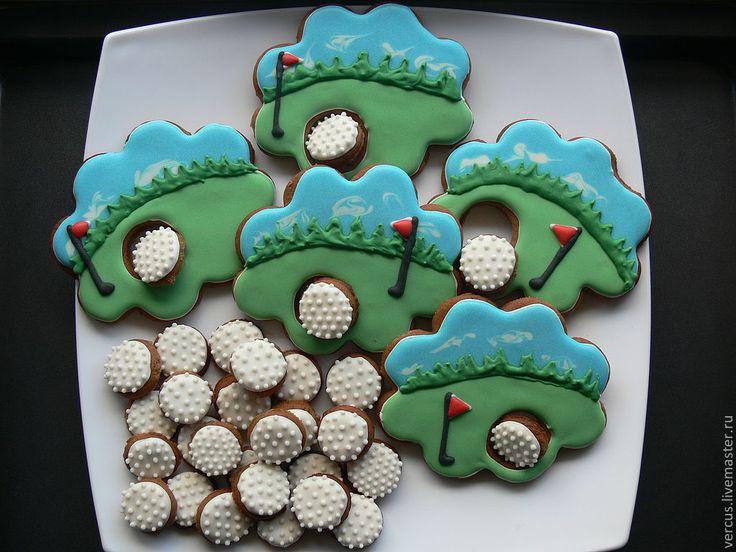 Кулинарные сувениры ручной работы. Ярмарка Мастеров - ручная работа. Купить Пряники для любителя гольфа. Handmade. Ярко-зелёный, мяч