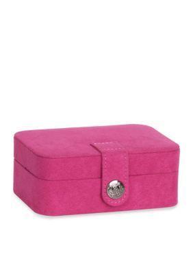 Mele  Co.  Cate Plush Fabric Travel Jewelry Box in Magenta