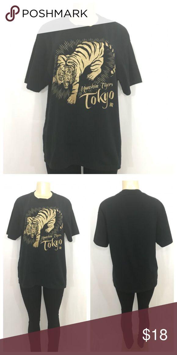 Black and Gold Hanshin Tigers Tokyo Tee Black and Gold Hanshin Tigers Tokyo Tee 100% Cotton Large  (Approx Small 2/4 Medium 6/8 Large 8/10 X-Large 10/12) Hanshin Tigers Tops Tees - Short Sleeve