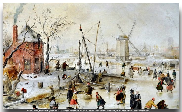 AVERCAMP, HENDRIK (1585-1634) – Frozen River with Skaters, detail.