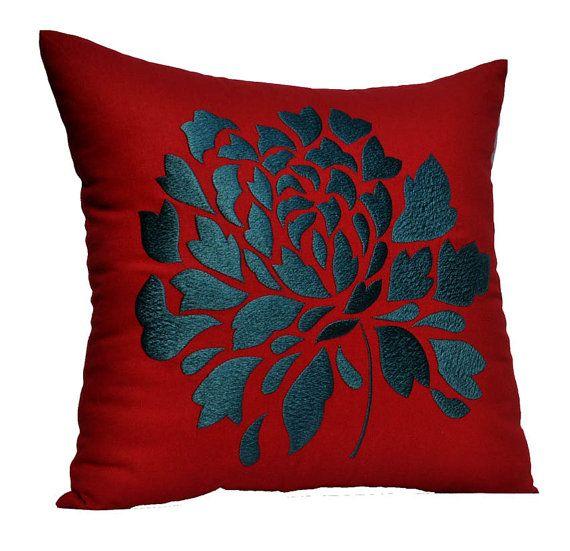 Blue Red Dahlia Pillow Cover Decorative Throw Pillow