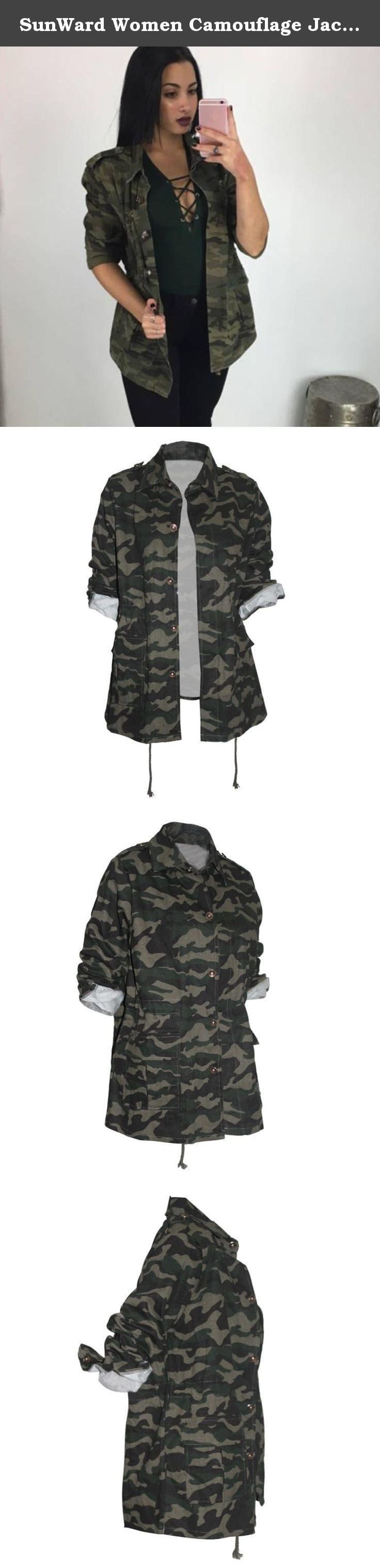 SunWard Women Camouflage Jacket Coat Autumn Winter Street Jacket Women Casual Jackets (L, Camouflage). Women Camouflage Jacket Coat Autumn Winter Street Jacket Women Casual Jackets Item specifics Gender:Women Season:Fall,Winter Occasion:Party,Daily Material:Cotton blend Decoration:Bandage Clothing Length:Regular Pattern Type:Camouflage Sleeve Style:Regular Style:Fashion,Causal Sleeve Length:Full Package include:1PC Women Coat.