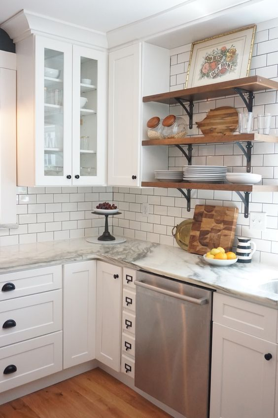 Like The Apothecary Drawers To Fill In Small Awkward Spaces White Shaker Cabinets Marble Countertops White Subway Tile And Open Shelving