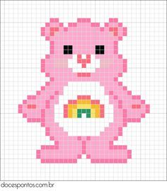 Free Care Bear Cross Stitch Chart or Hama Perler Bead Pattern