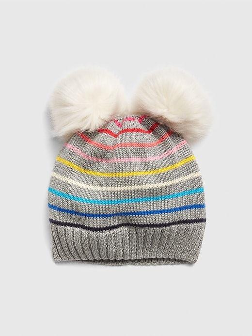 3f4b3e79e0d8b8 Gap Baby Faux-Fur Pom Stripe Beanie Crazy Stripe Multi | Products ...