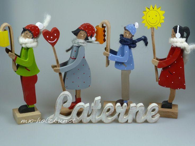 Deko-Objekte - Figur aus Holz - Laternenkinder  - ein Designerstück von mw-holzkunst bei DaWanda