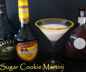 Holy moly!!!! Sugar Cookie Martini  --2 oz. Godiva White Chocolate Liqueur  2 oz. Bailey's Irish Cream  2 oz. Butterscotch Schnapps  2 oz. whipping cream  2 oz. milk  Combine ingredients in a martini shaker with ice. Shake and pour.