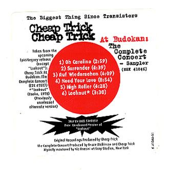 "For Sale - Cheap Trick At Budokan Sampler USA Promo  CD single (CD5 / 5"") - See this and 250,000 other rare & vintage vinyl records, singles, LPs & CDs at http://eil.com"