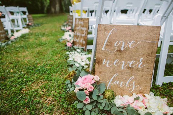 Corinthians Aisle Sign  Set of 1  Wooden Wedding by PaperandPineCo