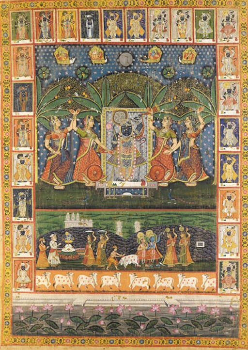 A Pichavai of Krishna as Shrinathji at Sarat Purnima India, Rajasthan, 19th Century Depicting Krishna in the center figuratively holding up Mount Govardhana with one hand and a lotus bloom in the other wearing lotus garlands, flanked by gopis and with cowherds, grazing cows and a lotus pond with swimming fish beneath and a full moon above flanked by celestial chariots, bordered by framed vignettes of Shrinathji in various garb