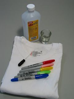 Decorate white t-shirts with colored sharpies and rubbing alcohol. This is specifically for fireworks but could work with anything!