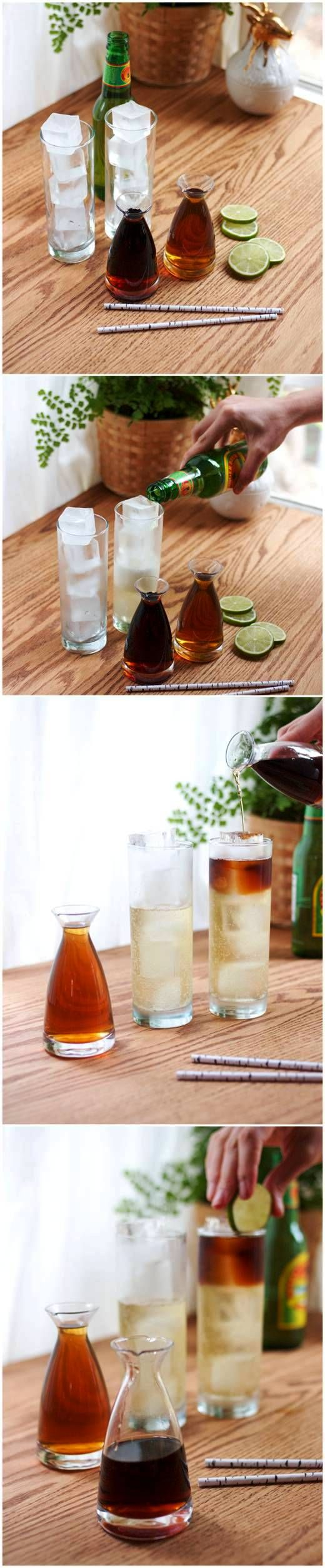Easy cocktail. Dark & Stormy: In an ice filled glass, add 5 oz of ginger beer, then top with 2 oz of rum. Squeeze in lime. Add a straw and serve immediately.
