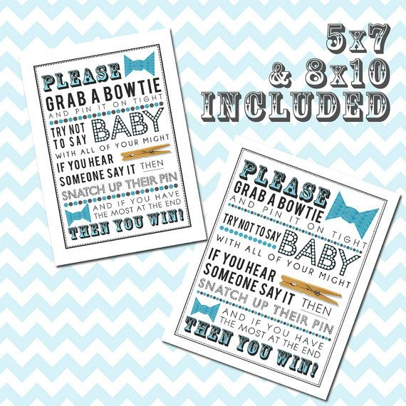 blue clothespin bowtie game printable for baby shower 5x7 8x10 pdf