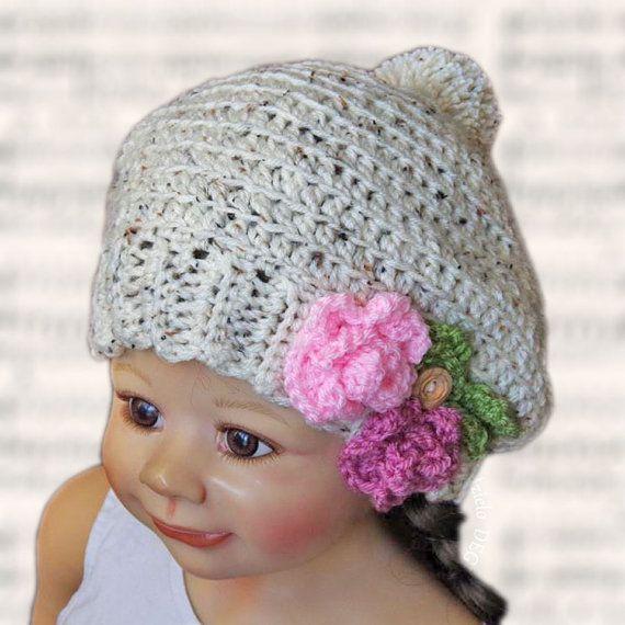 Crochet Children's hat , Handmade, colorfull  flower, Crochet, lovely warm cozy Girls  2-6 years