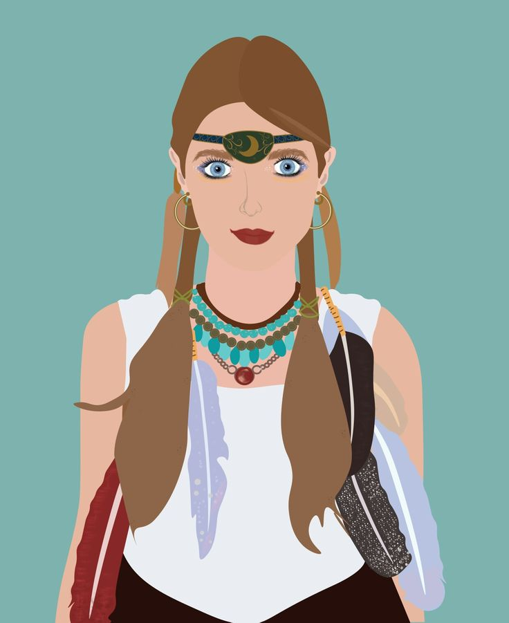 Vector illustration boho gypsy moon goddess. Design by Kirsten Petersen Creative