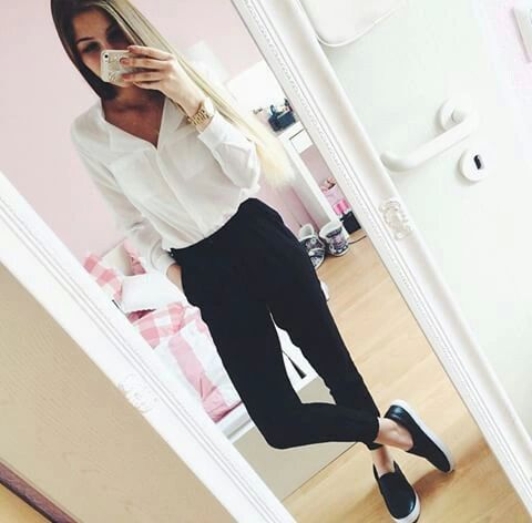 Classy, girly outfits for college (requested) Blouse - H&M Pants - Forever 21 Shoes - Vans