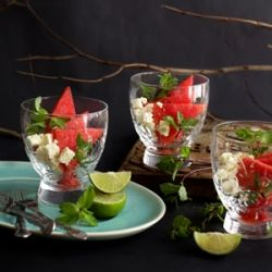 Watermelon and feta salad in glass. perfect 1st course idea