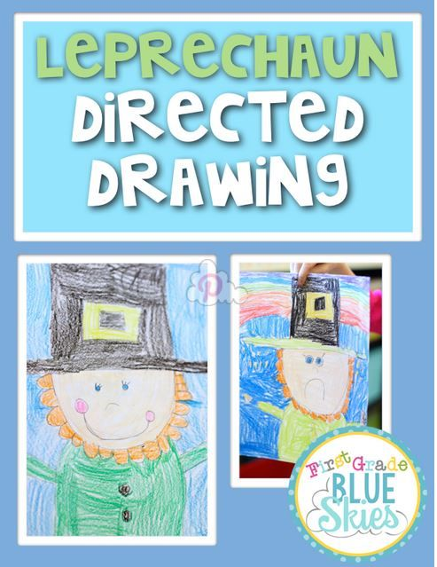Leprechaun directed drawing freebie at First Grade Blue Skies - cute!
