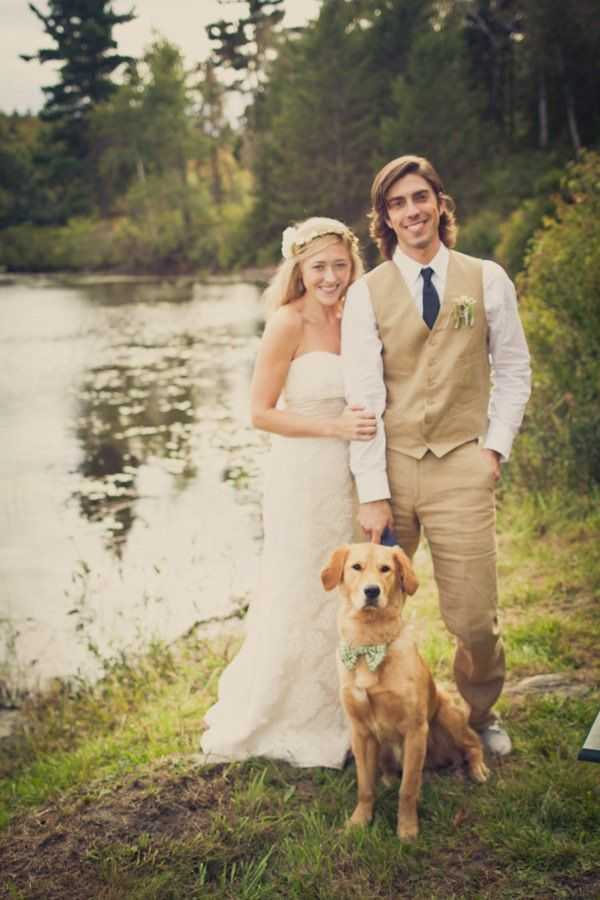 The doggy in the bowtie is just so cute!   This featured a backyard wedding, it was all very beautiful... I kind of like the summery, relaxed air of something like that, in the outdoors. // #photo #venue: Dogs Bows, Photos Ideas, Bows Ties, Chattman Photography, Blue Ties, Wedding Photos, Wedding Dogs, Khakis Suits, Backyard Wedding