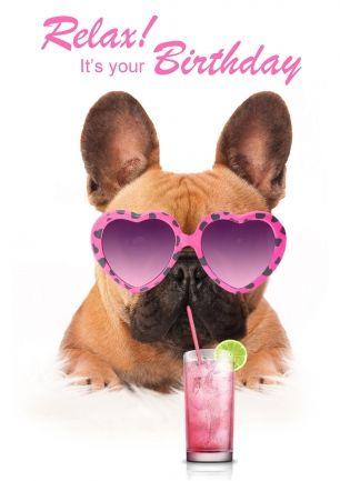 Wenskaart - Franse bulldog met cocktail en roze zonnebril (@Karen van Gerner Fotografie)