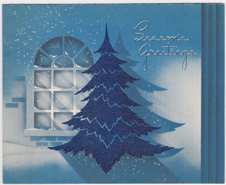 """VINTAGE 1939 """" WINDOW & TREE IN BLUE """" CHRISTMAS GREETING"""