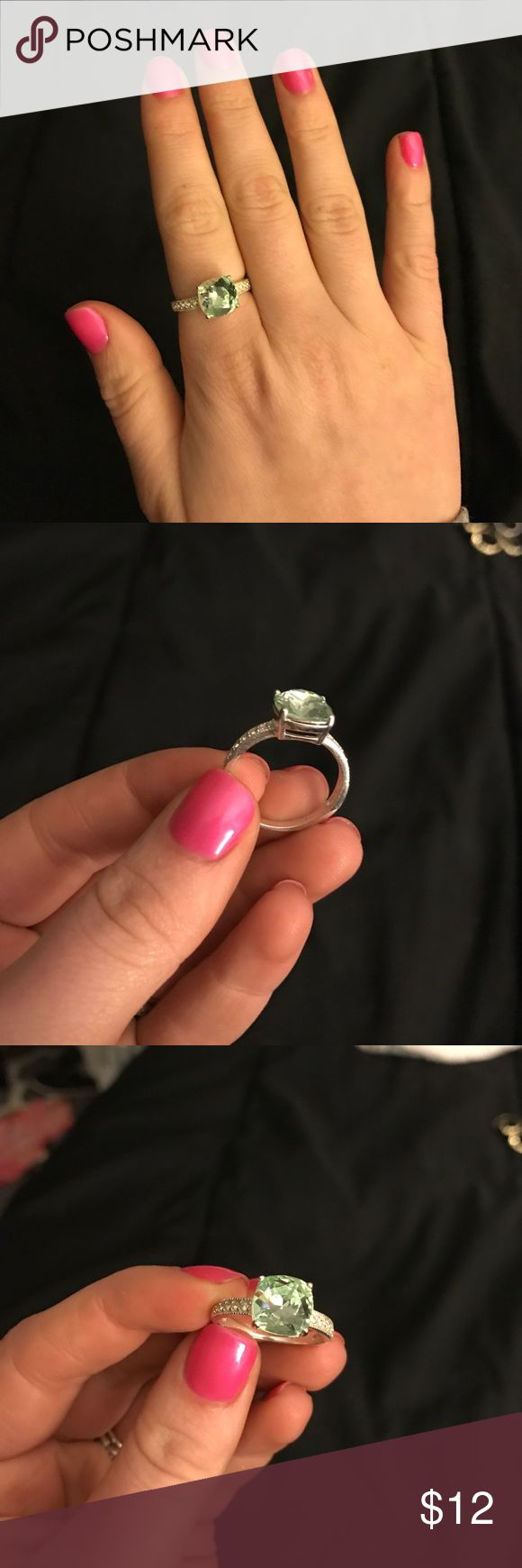 Peridot ring Cushion cut peridot ring Jewelry Rings