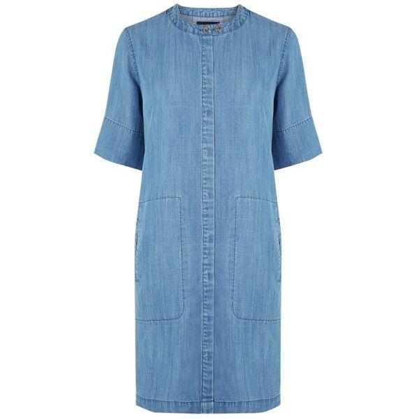Warehouse Grandad Collar Shirt Dress, Mid Wash ($53) ❤ liked on Polyvore featuring dresses, blue midi dress, long-sleeve mini dress, shirt dress, sleeved maxi dress and maxi shirt dress