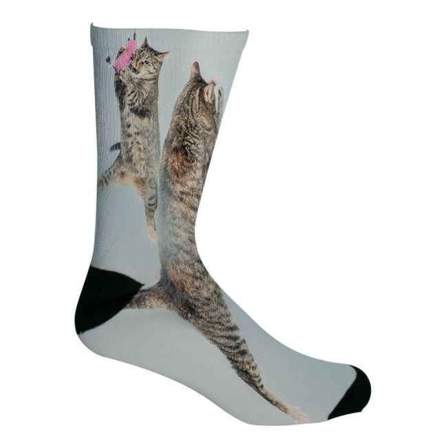 Personalize your feet with some toasty feline friendly socks! Upload your own furry friends here!