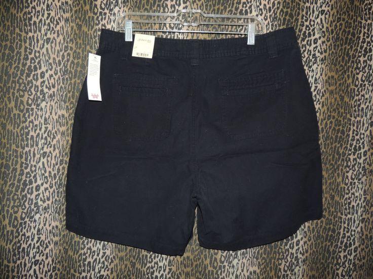 ST. John's Bay Woman Women's Navy Blue Khakis Chinos Casual Shorts~Size 16W NWT #StJohnsBay #CanvasCampShorts