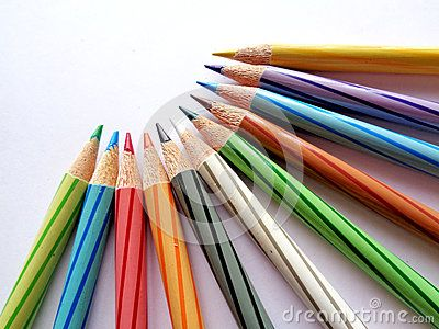 A set of color pencils on white background.