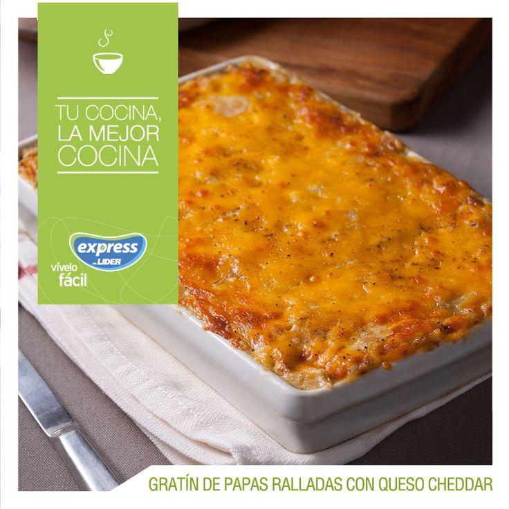 Gratin de papas ralladas con queso cheddar #Recetario #Receta #RecetarioExpress #Lider #Food #Foodporn
