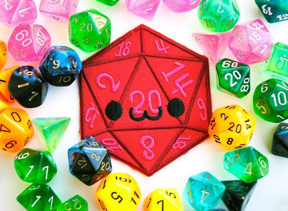 Smiling D20 Iron On Patch: Happy Dice used in Tabletop Games like Dungeons and Dragons by Dorky Dino, $5.00