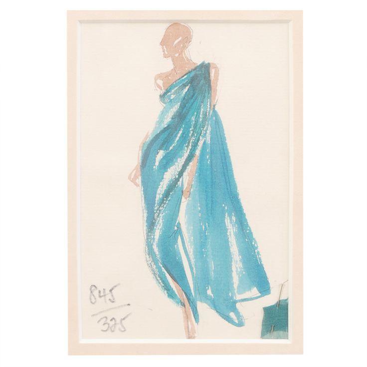 Halston Fashion Illustration by Joe Eula, Martha Graham estate