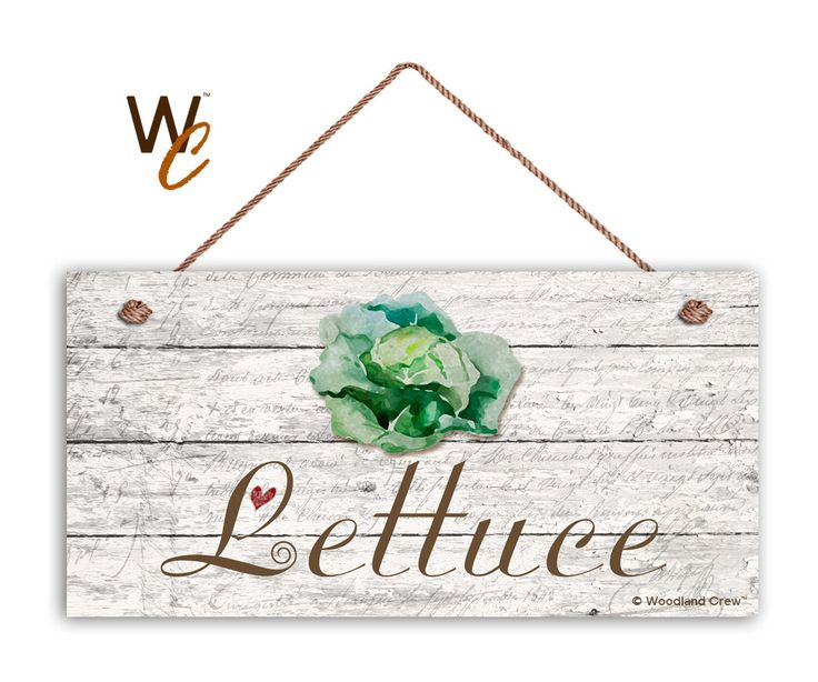 """Lettuce Sign, Garden Sign, Rustic Decor, Distressed Wood, Weatherproof, 5"""" x 10"""" Sign, Vegetable Sign, Gift For Gardener, Made To Order by WoodlandCrew on Etsy"""