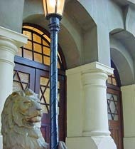 Imposing entrance to the Lions Shul, with one of the two lions guarding the entrance