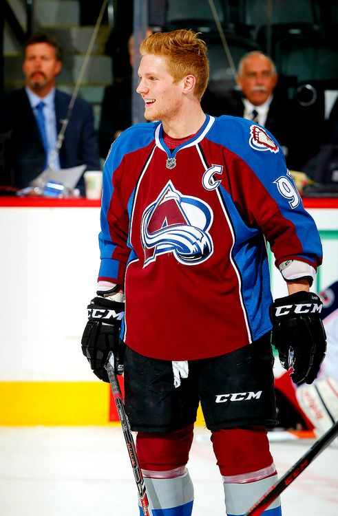 It's funny how red his hair looks even though he's a blonde. Landeskog, Colorado Avalanche