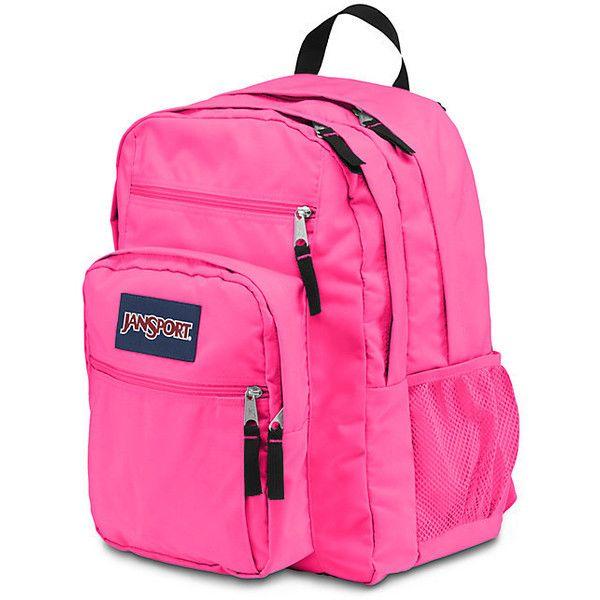 JanSport Big Student Fluorescent Pink ($46) ❤ liked on Polyvore featuring bags, backpacks, pocket backpack, neon pink bag, neon bag, pink bag and jansport backpack